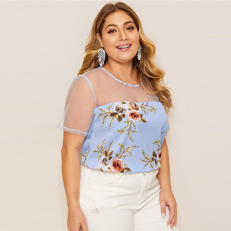 Women's Summer O-Neck Short-Sleeve Blouse | Plus Size