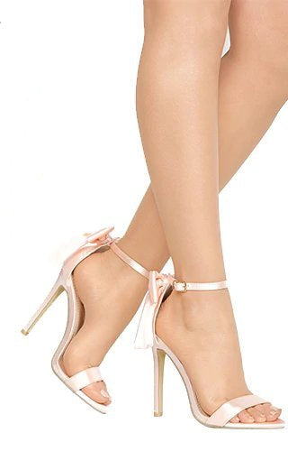 Women's Summer High-Heeled Ankle Sandals Decorated With Butterfly-Knot