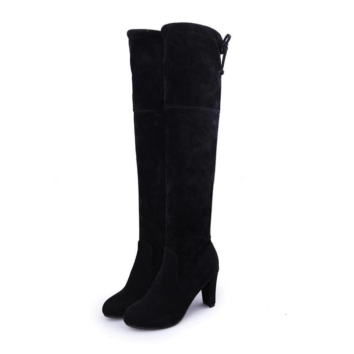 Women's Winter High-Heeled Faux Suede Leather High Boots