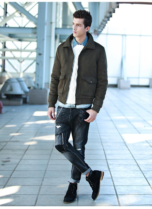 Men's Winter Warm Fleece Bomber With Stand Fur Collar