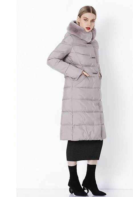 Women's Winter Warm Long Down Coat With Fur On Hood