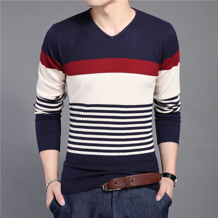 Men's Knitted Striped V-Neck Slim Fit Sweater - Zorket