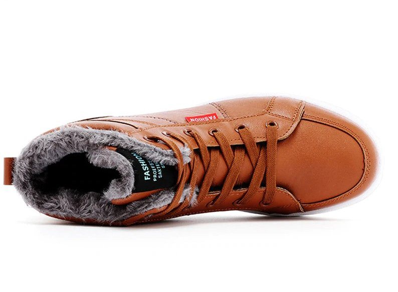 Men's Winter Genuine Leather Warm With Fur Shoes