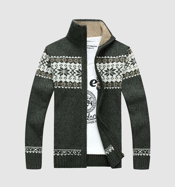 Men's Autumn/Winter Knitted Slim Fit Zipped Sweater With Snow Design