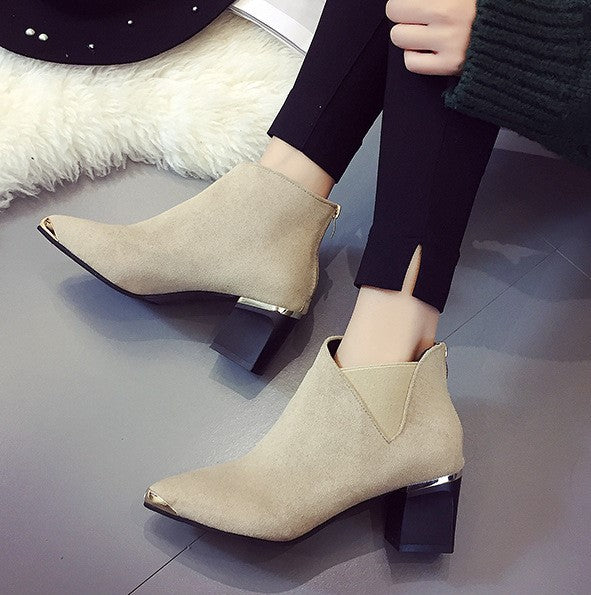 Women's Autumn/Winter PU Leather Square-Heeled Ankle Boots With Metal Decorations