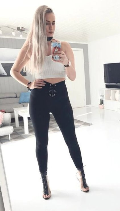 Women's Spring/Autumn High Waist Lace-Up Skinny Leggings