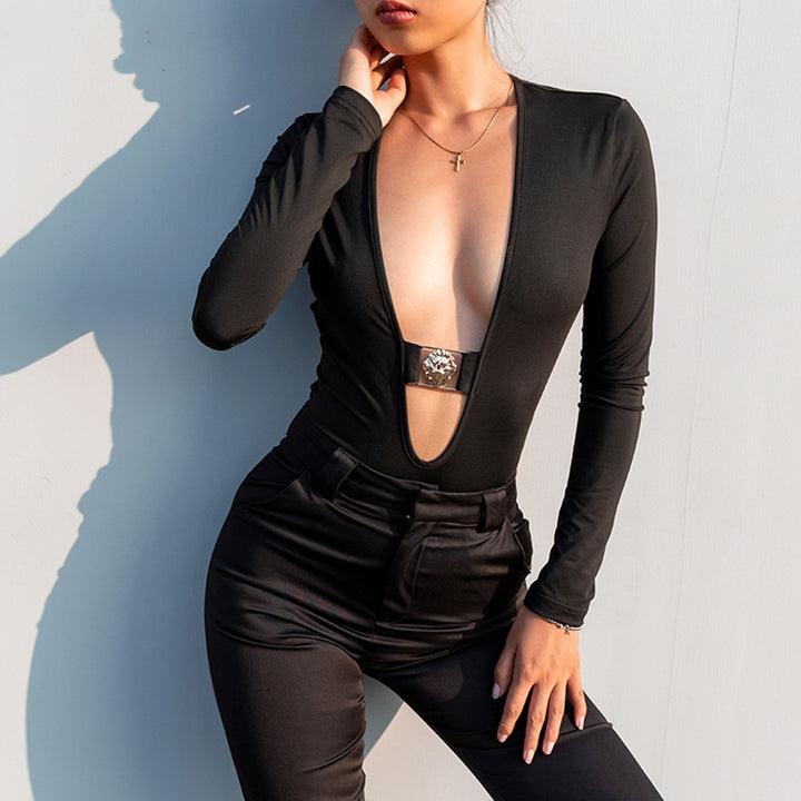 Women's Summer Deep V-Neck Long-Sleeved Bodysuit