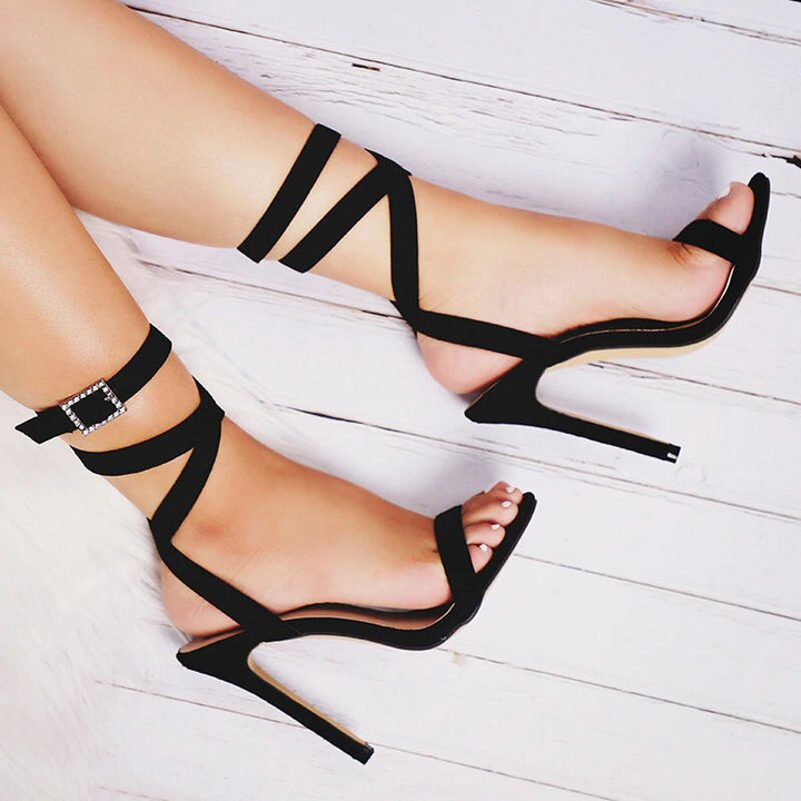Women's Summer High-Heeled Sandals With Decorative Buckle