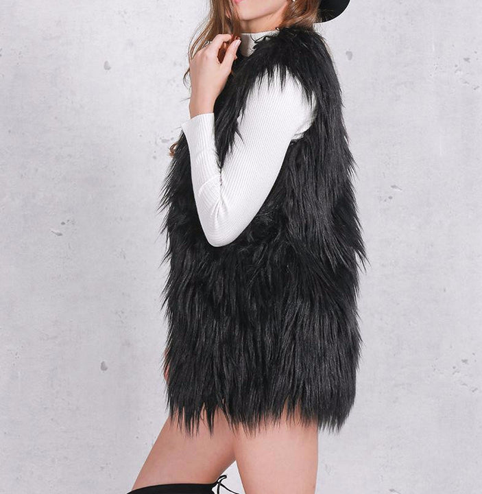 Women's Fluffy Faux Fur Autumn Vest - Zorket