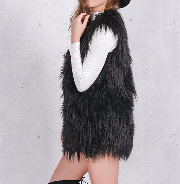 Vest – Women's Fluffy Faux Fur Autumn Vest | Zorket