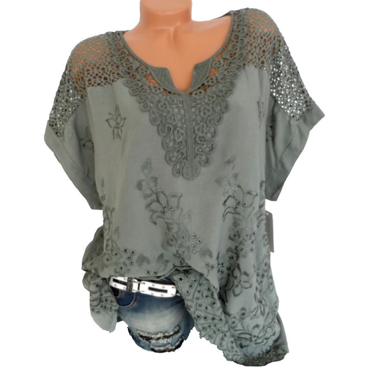 Women's Summer V-Neck Short-Sleeved Embroidered Loose Blouse