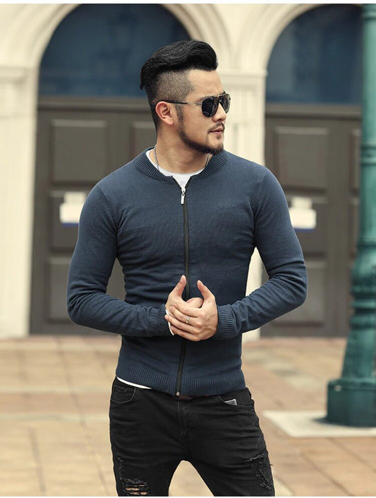 Men's Spring/Autumn European Style Cotton Knitted Slim Cardigan