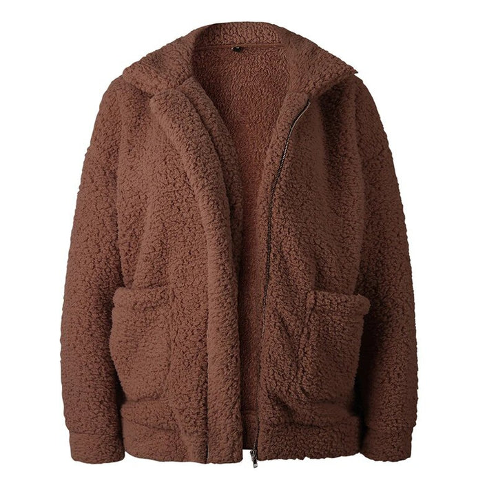 Women's Autumn/Winter Warm Plush Fleece Faux Shearling Fur Jacket