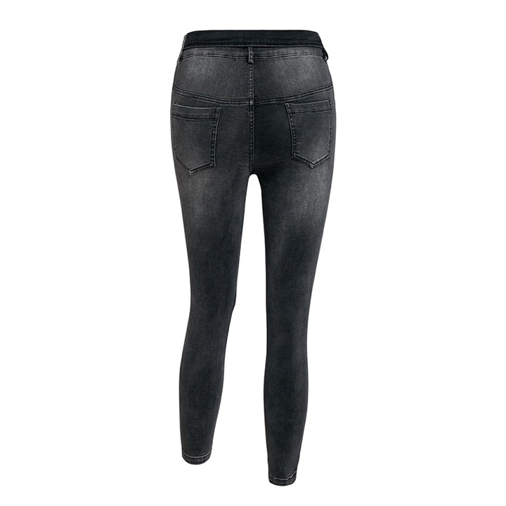 Women's Autumn High Waist Multi-Button Skinny Jeans