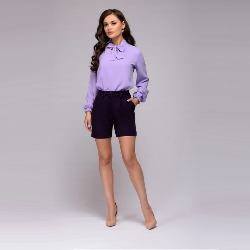 Women's Autumn Casual Elegant Blouse With Decorative Bow