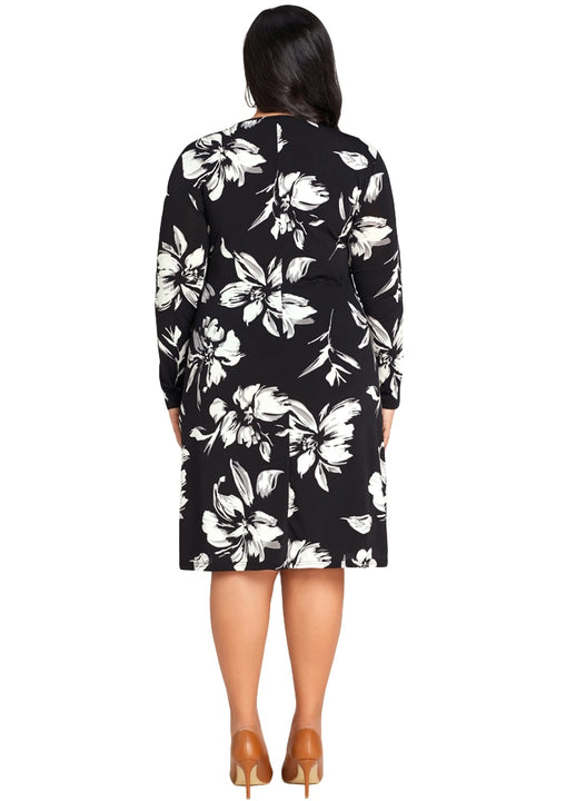 Women's Autumn O-Neck Long-Sleeved Loose Midi Dress With Floral Pattern