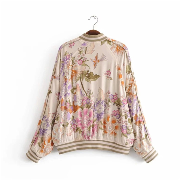 Women's Spring/Autumn Casual Floral Bomber