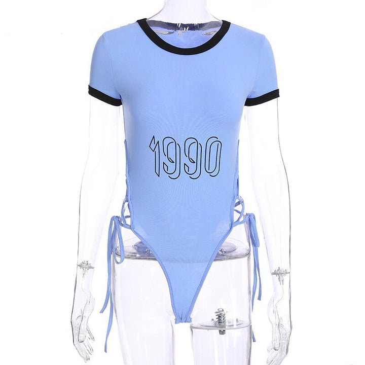 "Women's Summer Cotton Side Bandage O-Neck Bodysuit With ""1990"" Printing"