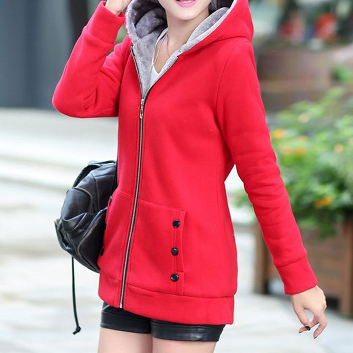 Autumn / Winter Women's Casual Long Sleeved Hooded Sweatshirt - Zorket