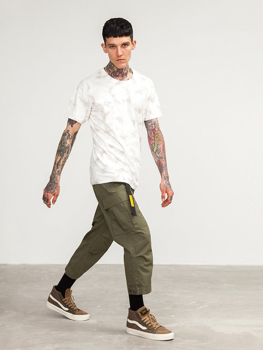 Men's Spring Cotton Multi-Pocket Ankle-Length Loose Cargo Pants