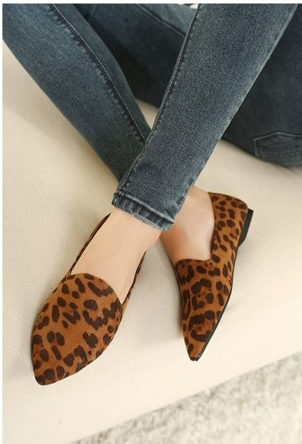 Women's Spring/Summer Casual Flat Loafers With Leopard Pattern