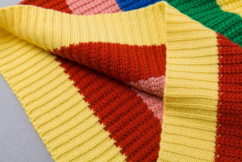 Women's Winter Knitted Striped Rainbow Sweater With Turtleneck