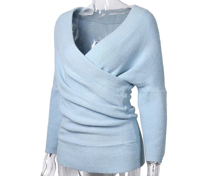 Women's Winter V-Neck Knitted Cashmere Pullover