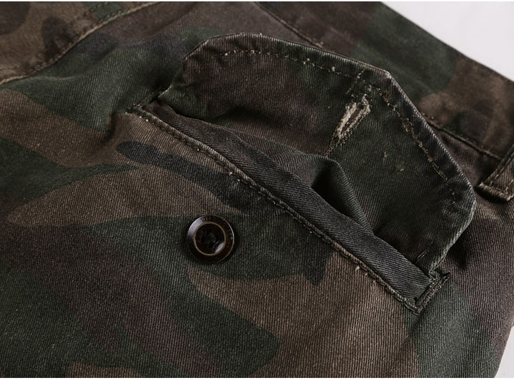Men's Summer Washed Camouflage Army Style Shorts