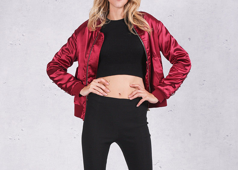 Women's Casual Autumn Bomber Jacket - Zorket
