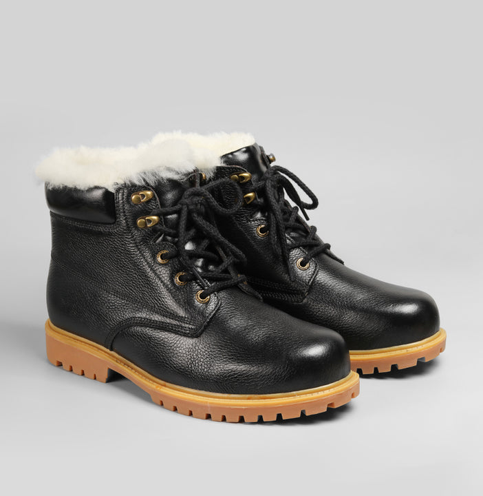Men's Winter Genuine Leather Natural Wool Boots