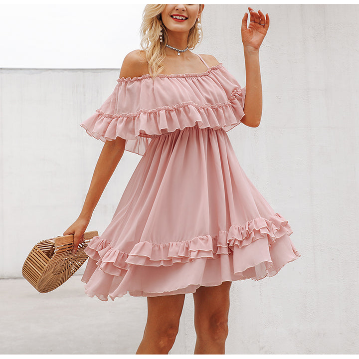 Women's Summer Ruffled Off-Shoulder Strappy Chiffon Short Dress