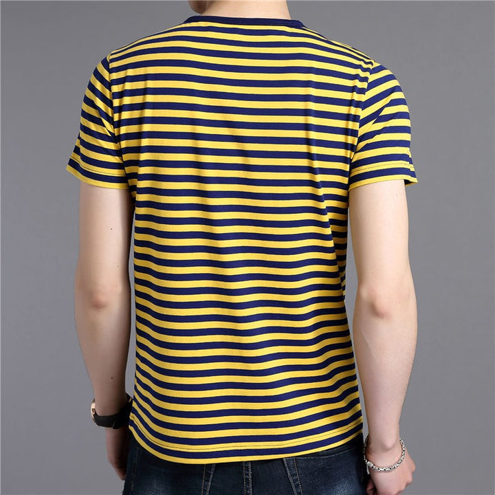 Men's Cotton Short Sleeve Pinstriped O-Neck T-Shirt - Zorket