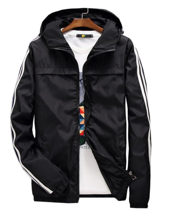 Women's Spring/Autumn Hooded Windbreaker With Striped Sleeves