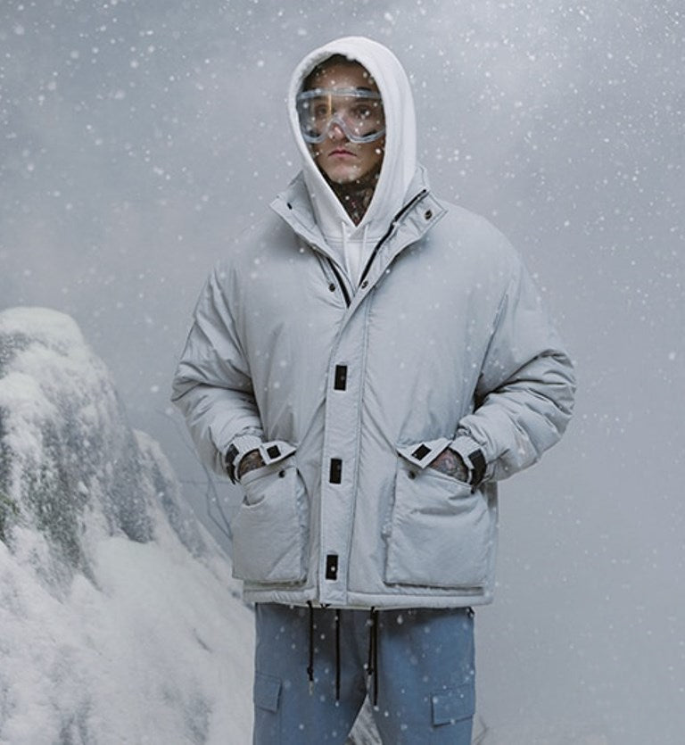 Men's Winter Warm Cotton-Padded Windproof Thick Parka