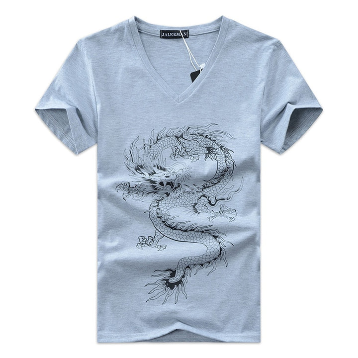 Men's Summer V-Neck Short-Sleeved T-Shirt With Printed Dragon