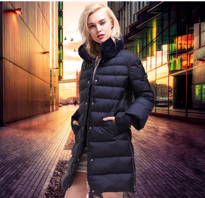 Women's Winter Thick Warm Long Down Coat With Rabbit Fur Collar