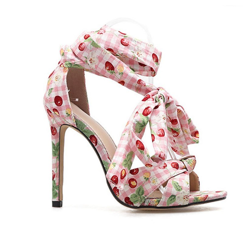 Women's Summer Thin Heels Ankle Strap Floral Sandals With Butterfly-Knot