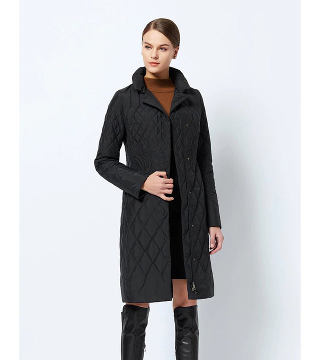 Women's Spring/Autumn Warm Thin Quilted Long Coat With Standing Collar