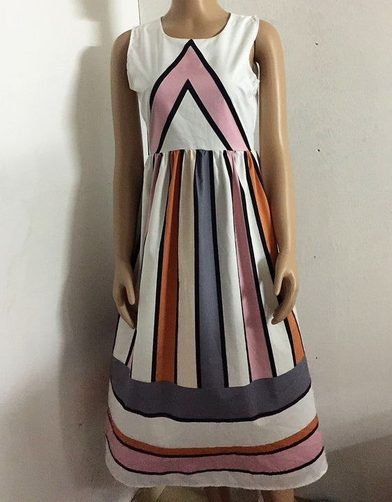 Women's Summer O-Neck Striped A-Line Sleeveless Long Beach Dress