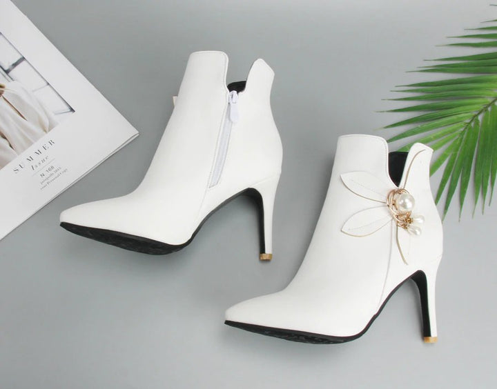 Women's Autumn/Winter High-Heeled Ankle Boots With Decorative Flower