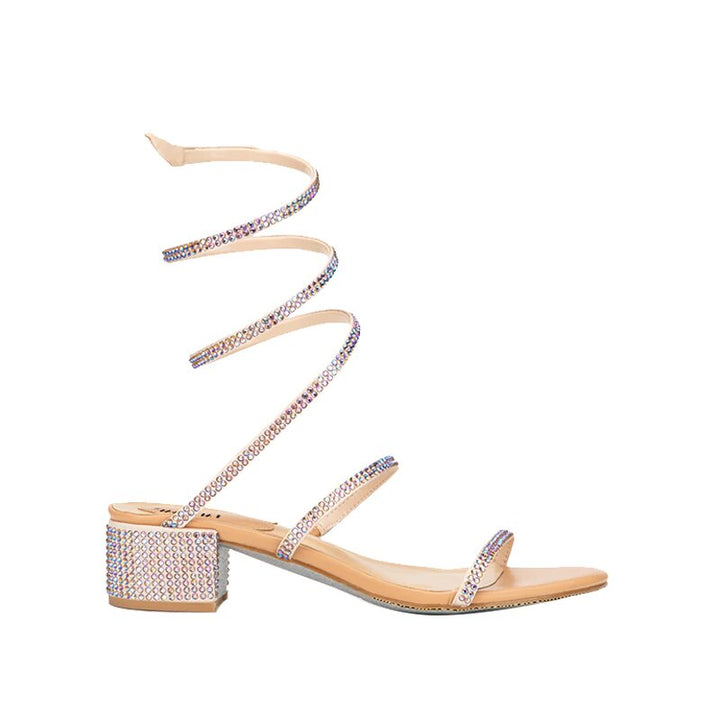 Women's Spring/Summer Long-Strap Serpentine Gladiator Sandals With Rhinestones