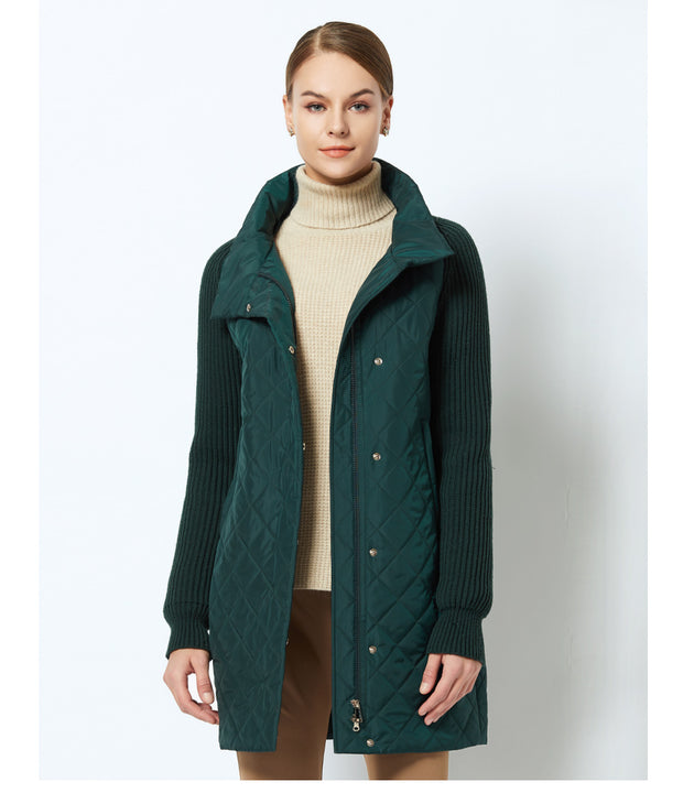 Women's Spring/Autumn Warm Jacket With Knitted Sleeves