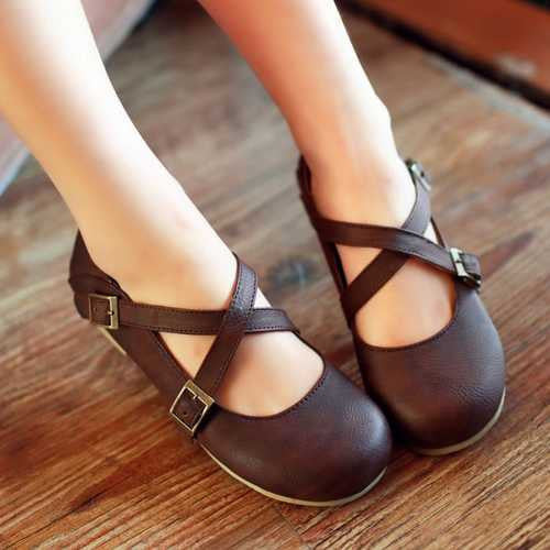 Flats – Female Round Toe Summer Flats With Buckle Strap | Zorket