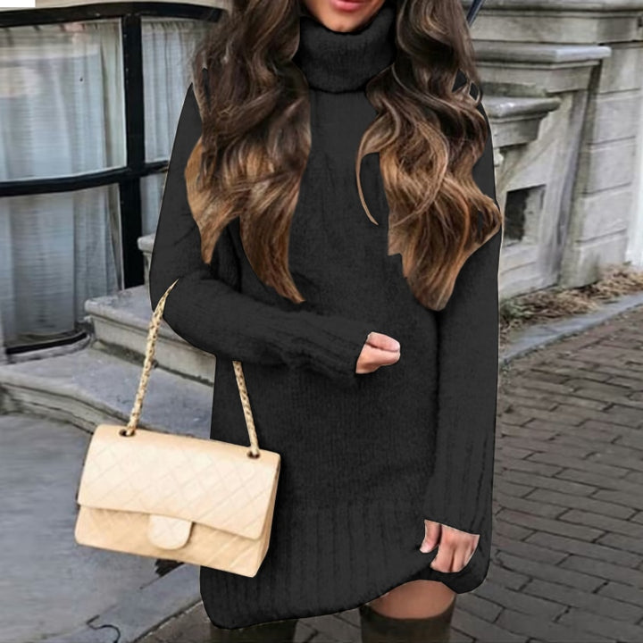 Women's Winter Warm Turtleneck Oversized Knitted Sweater Dress