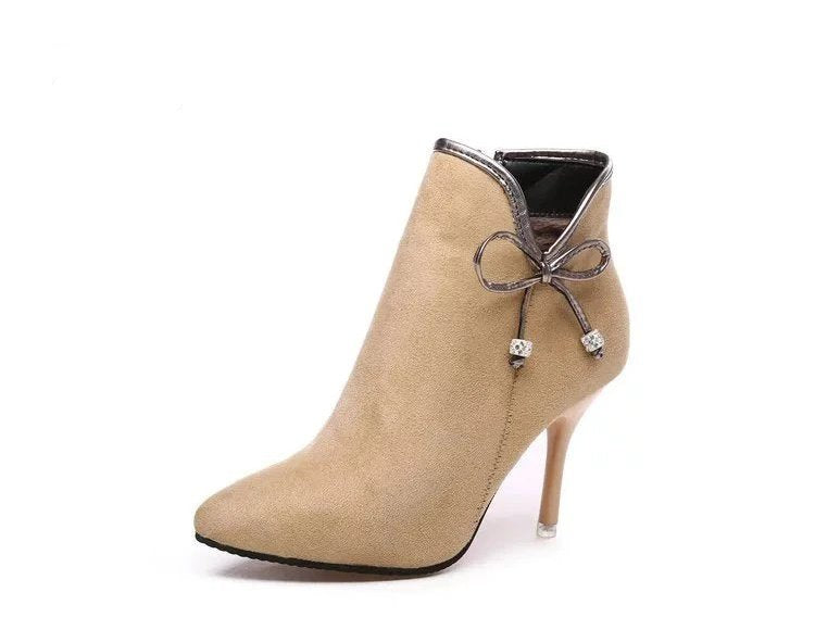 Women's Autumn Suede Leather Medium-Heeled Ankle Boots