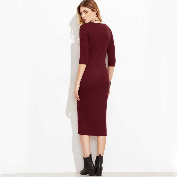 Women's Autumn Office Pencil Dress With 3/4 Sleeves