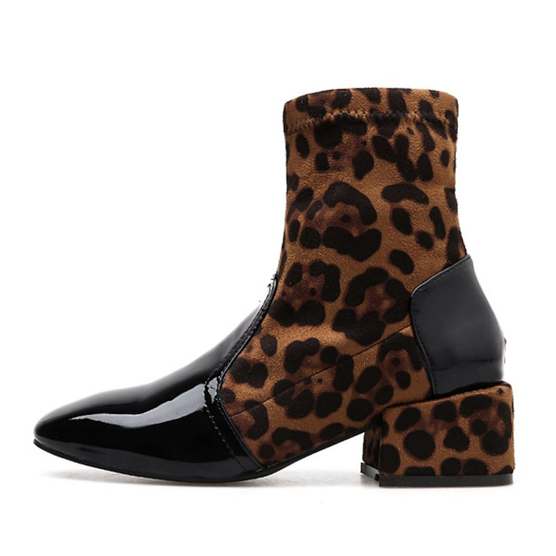Women's Winter Mid-Heeled Slip-On Ankle Boots With Square Toe