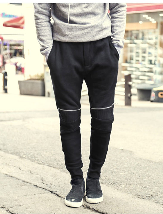 Men's Spring/Autumn Elastic Waist Cotton Joggers With Decorative Zippers