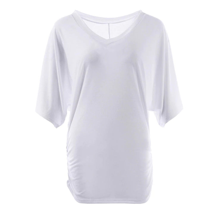 Women's Summer Loose Long T-Shirt  With V-Neck