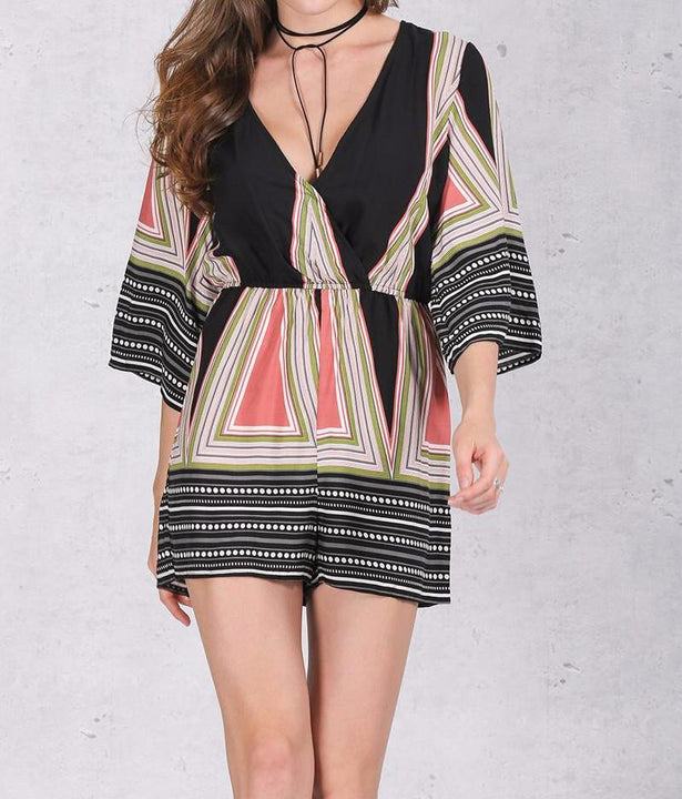Deep V-Neck Casual Romper With Geometric Pattern